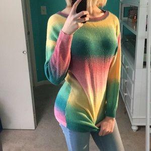 H&M Pastel Rainbow Drop Shoulder Colorful Sweater